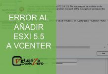 error al añadir esxi 5.5. Cannot contact the specified host