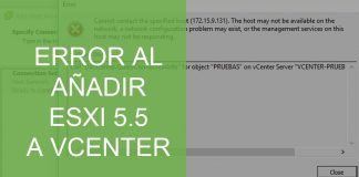 error al añadir esxi 5.5. Cannot contact the specified host